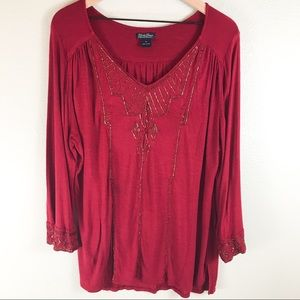 Plus Size Lucky Brand Beaded Long Sleeve Top